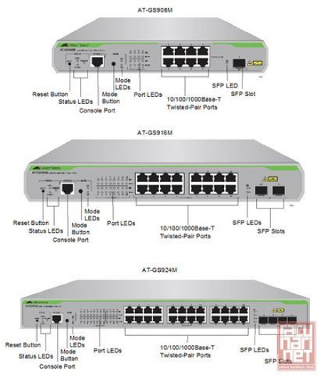 Switch Allied Telesis AT-GS924M, Layer 2 Switch with 20x10/100/1000 and 4xCombo ports