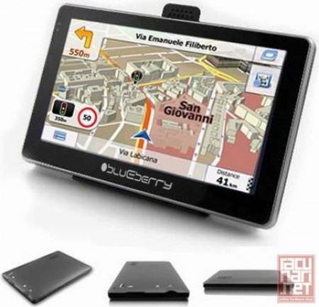 "Blueberry GPS Navigations 2go547, 5.0"" TFT Touch-screen, 4GB internal memory, microSD, Bluetooth, FM Transmitter, USB, Car Holder and Charger, Win CE 6.0, black"