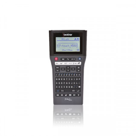 Brother PT-H500, Handheld, Standard PC style QWERTY keyboard, TZ tapes 3.5 to 24 mm, Li-ion battery optional, 30mm/sec. (AC adapter), backlight graphic LCD, Auto Cutter, PT Editor software