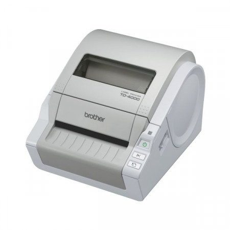 Brother TD-4000, Label Printer, RD continuous tape and RD label up to 102 mm width, 110 mm/s print speed, Powerful barcode label design software included, Automatic Cutter, USB 2.0 & RS-232C