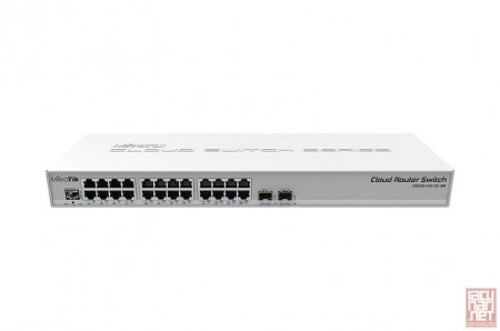 MikroTik CRS326-24G-2S+RM, 24x Gigabit port switch with 2x SFP+ cages in 1U rackmount case, 800MHz CPU, 512MB RAM, Dual boot feature RouterOS/SwitchOS