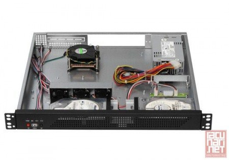 "Gembird 19CC-1U-001, 19"" Rack-mount chassis (1U), ATX motherboard support, 2x3.5"", black"