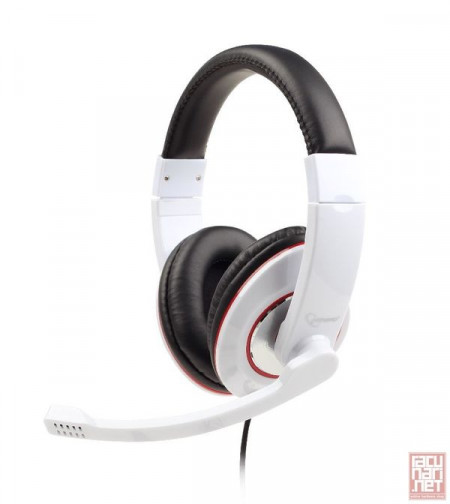 Gembird MHS-001-GW, Stereo headphones with microphone , 1.8m, 3.5mm, white