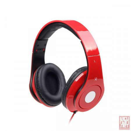 Gembird MHS-DTW-R, Folding Stereo headphones with in-line microphone, 1.5m, 3.5mm, red