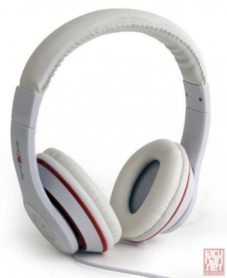 Gembird MHS-LAX-W, Stereo headphones with in-line microphone, 1.8m, 3.5mm, white