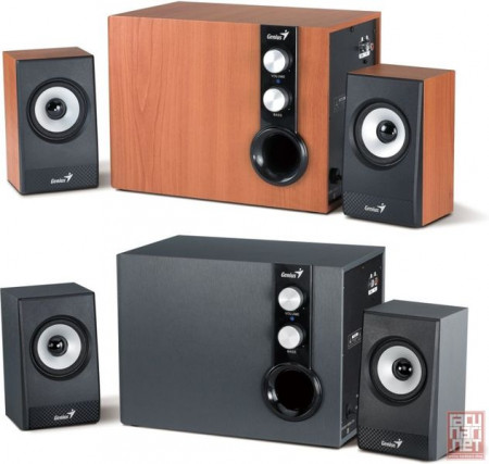 Genius SW-HF2.1 1205, speaker system 2.1, 2x7W + 32W RMS, wood, brown