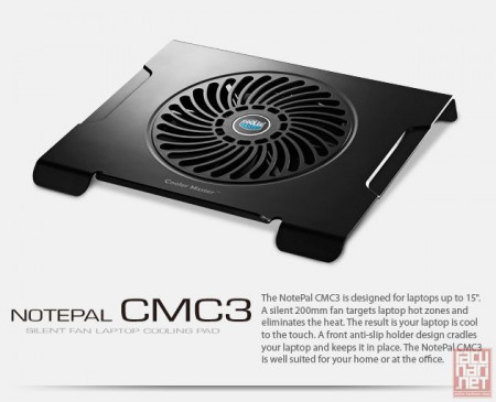 """CoolerMaster NotePal CMC3, notebook cooler up to 15"""", 20cm fan, USB (R9-NBC-CMC3-GP)"""